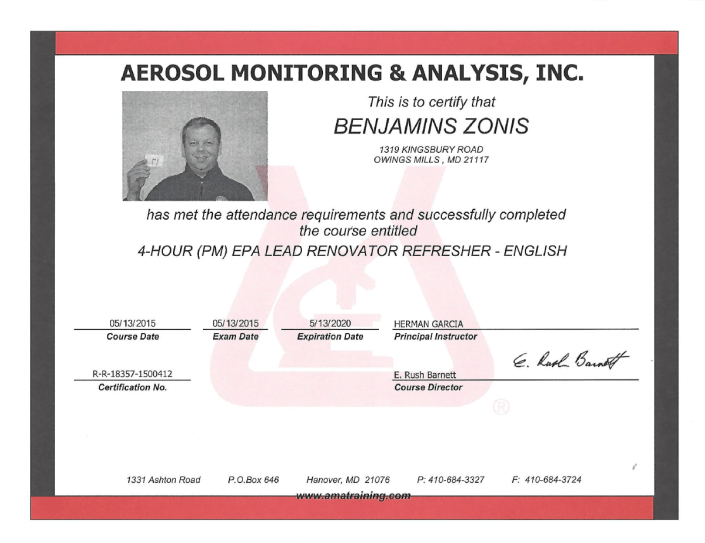 aerosol monitoring and analysis certification