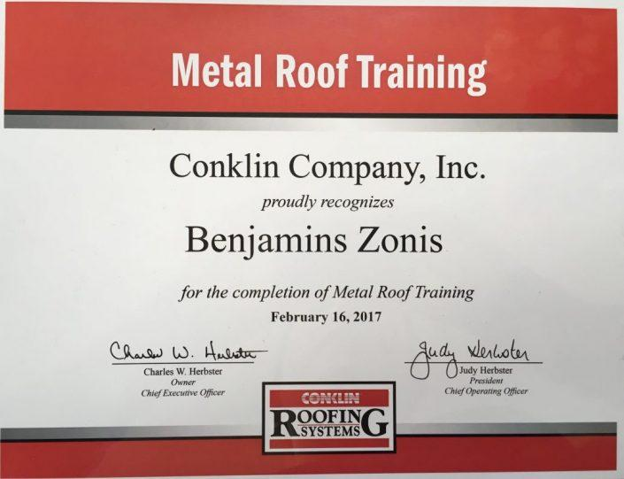 Metal Roof Training certification