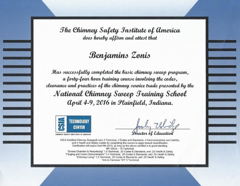 The Chimney Safety Institute of America Certification