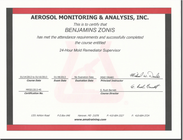 Handyman On Call aerosol monitoring and analysis certification
