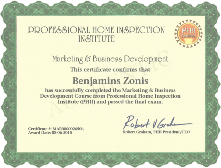 professional home inspection certification